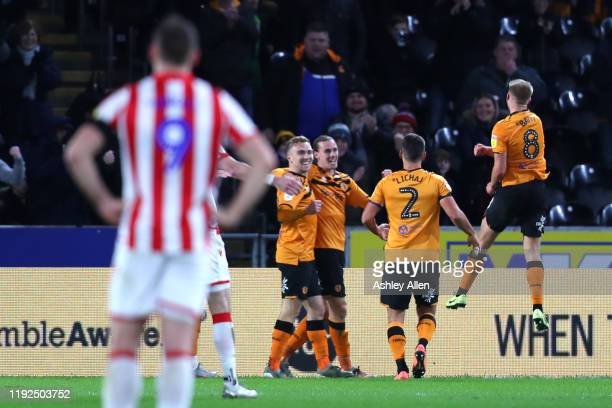 Jarrod Bowen of Hull City celebrates with teammates after scoring a goal during the Sky Bet Championship match between Hull City and Stoke City at...