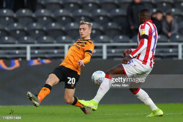 Jarrod Bowen of Hull City crosses the ball during the Sky Bet Championship match between Hull City and Stoke City at KCOM Stadium on December 07 2019...
