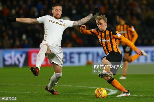 Jarrod Bowen of Hull City cuts the ball back inside as Pontus Jansson of Leeds United attempts a tackle during the Sky Bet Championship match between...