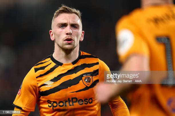 Jarrod Bowen of Hull City during the Emirates FA Cup Fourth Round match between Hull City and Chelsea at KCOM Stadium on January 25, 2020 in Hull,...