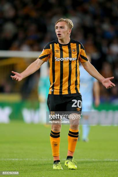 Jarrod Bowen of Hull City during the Sky Bet Championship match between Hull City and Wolverhampton Wanderers at KCOM Stadium on August 15 2017 in...