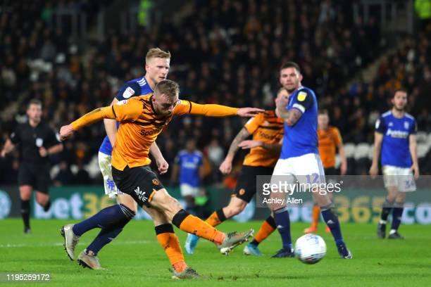 Jarrod Bowen of Hull City has a shot at goal during the Sky Bet Championship match between Hull City and Birmingham City at KCOM Stadium on December...
