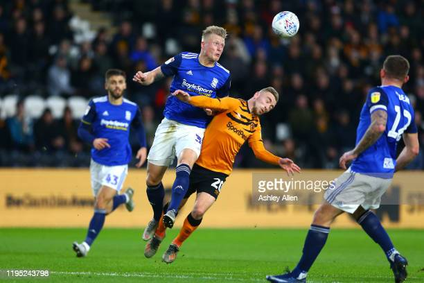 Jarrod Bowen of Hull City is fouled by Kristian Pedersen of Birmingham City during the Sky Bet Championship match between Hull City and Birmingham...