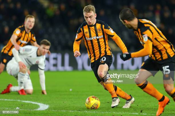 Jarrod Bowen of Hull City makes an attacking run during the Sky Bet Championship match between Hull City and Sheffield United at KCOM Stadium on...