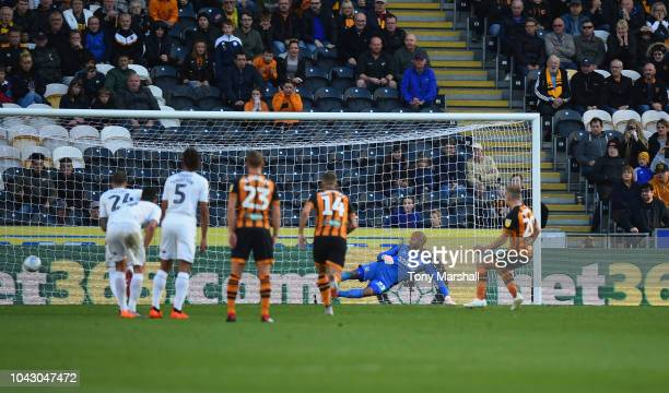 Jarrod Bowen of Hull City scores from the penalty spot during the Sky Bet Championship match between Hull City and Middlesbrough at KCOM Stadium on...