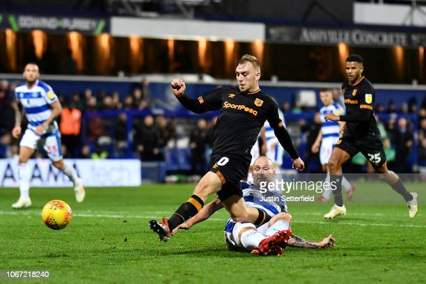 Jarrod Bowen of Hull City scores the 3rd Hull goal during the Sky Bet Championship match between Queens Park Rangers and Hull City at Loftus Road on...