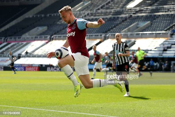 Jarrod Bowen of West Ham United controls the ball during the Premier League match between Newcastle United and West Ham United at St. James Park on...
