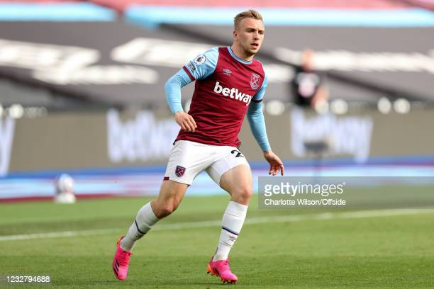 Jarrod Bowen of West Ham United during the Premier League match between West Ham United and Everton at London Stadium on May 9, 2021 in London,...