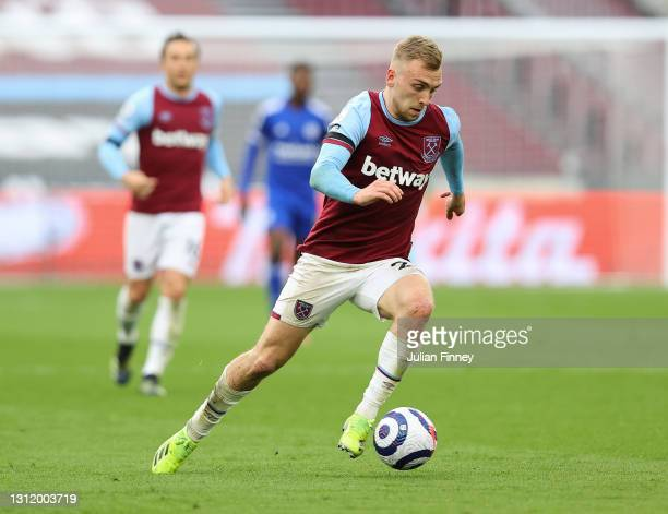 Jarrod Bowen of West Ham United in action during the Premier League match between West Ham United and Leicester City at London Stadium on April 11,...