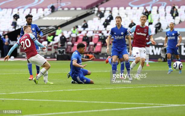 Jarrod Bowen of West Ham United scores their team's third goal during the Premier League match between West Ham United and Leicester City at London...