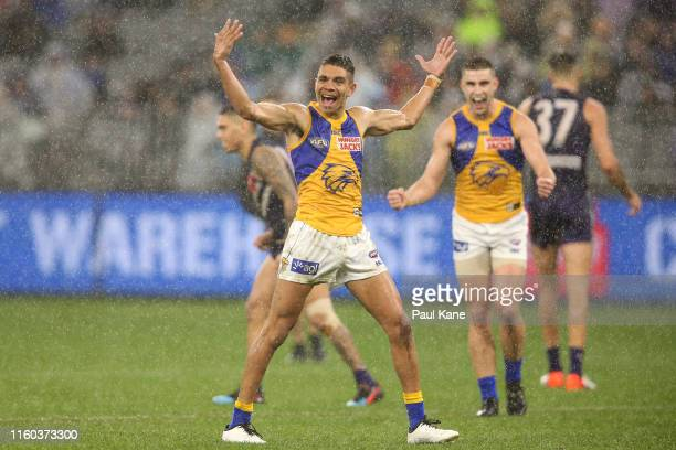 Jarrod Cameron of the Eagles celebrates a goal during the round 16 AFL match between the Fremantle Dockers and the West Coast Eagles at Optus Stadium...