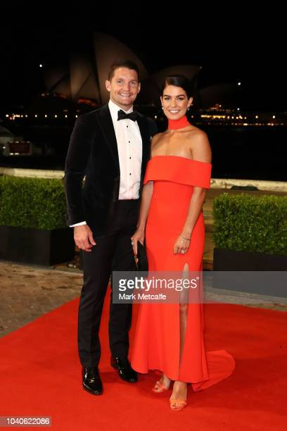 Jarrod Croker and Brittney Wicks arrive at the 2018 Dally M Awards at Overseas Passenger Terminal on September 26 2018 in Sydney Australia