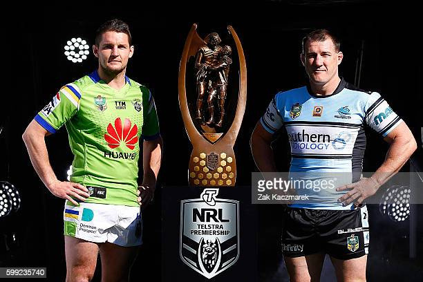 Jarrod Croker of the Raiders and Paul Gallen of the Sharks pose during the 2016 NRL Finals series launch at Allianz Stadium on September 5 2016 in...