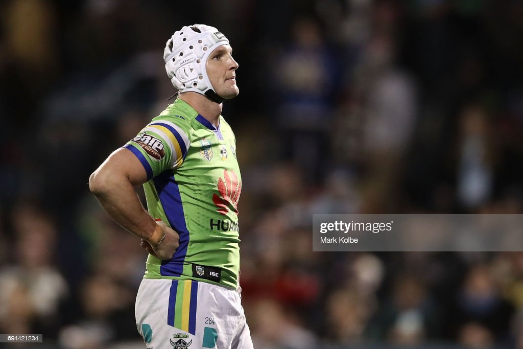 Jarrod Croker of the Raiders looks dejected after defeat during the round 14 NRL match between the Penrith Panthers and the Canberra Raiders at Carrington Park on June 10, 2017 in Bathurst, Australia.