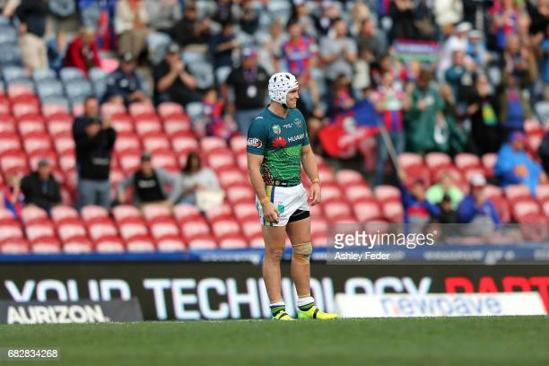 Jarrod Croker of the Raiders looks dejected after losing during the round 10 NRL match between the Newcastle Knights and the Canberra Raiders at...