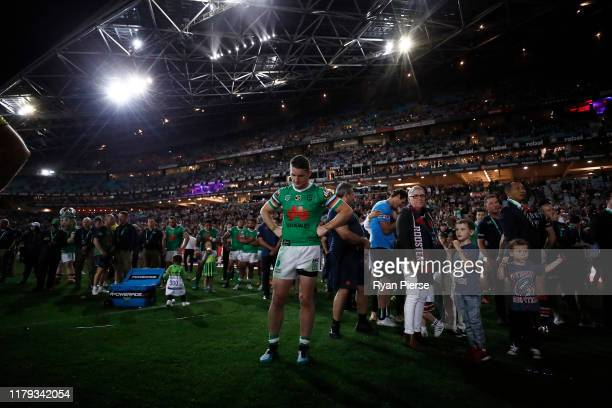 Jarrod Croker of the Raiders looks dejected after the 2019 NRL Grand Final match between the Canberra Raiders and the Sydney Roosters at ANZ Stadium...