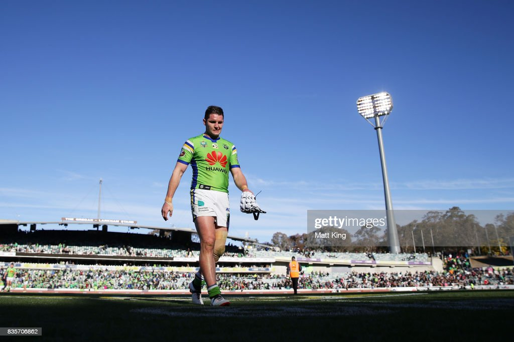 Jarrod Croker of the Raiders looks dejected as he leaves the field at fulltime during the round 24 NRL match between the Canberra Raiders and the Penrith Panthers at GIO Stadium on August 20, 2017 in Canberra, Australia.