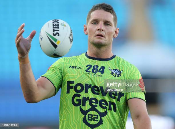 Jarrod Croker of the Raiders looks on during warm up before the round one NRL match between the Gold Coast Titans and the Canberra Raiders at Cbus...