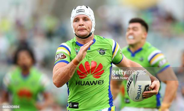 Jarrod Croker of the Raiders makes a line rbeak during the round three NRL match between the Canberra Raiders and the Wests Tigers at GIO Stadium on...