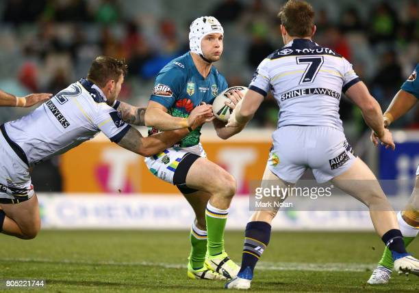 Jarrod Croker of the Raiders runs the ball during the round 17 NRL match between the Canberra Raiders and the North Queensland Cowboys at GIO Stadium...
