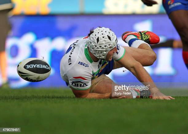 Jarrod Croker of the Raiders scores a try during the round two NRL match between the Newcastle Knights and the Canberra Raiders at Hunter Stadium on...
