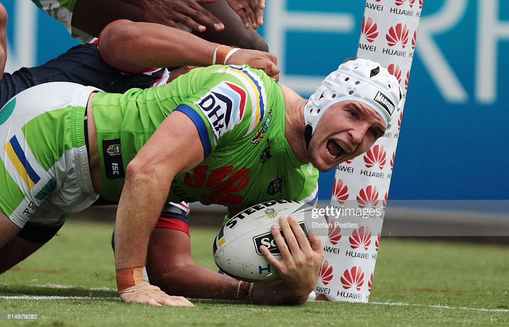 Jarrod Croker of the Raiders scores a try during the round two NRL match between the Canberra Raiders and the Sydney Roosters at GIO Stadium on March 12, 2016 in Canberra, Australia.