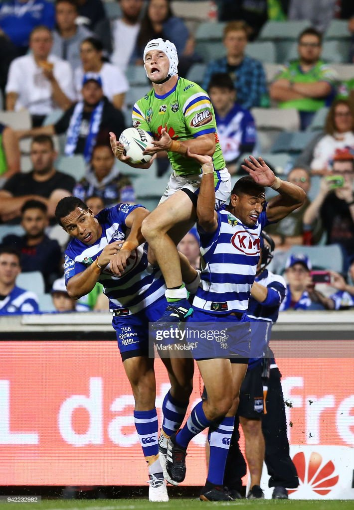 Jarrod Croker of the Raiders takes a high ball to score during the round five NRL match between the Canberra Raiders and the Canterbury Bulldogs at GIO Stadium on April 5, 2018 in Canberra, Australia.