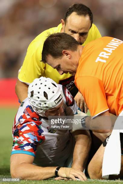 Jarrod Croker of the World All Stars is injured during the NRL All Stars match between the 2017 Harvey Norman All Stars and the NRL World All Stars...