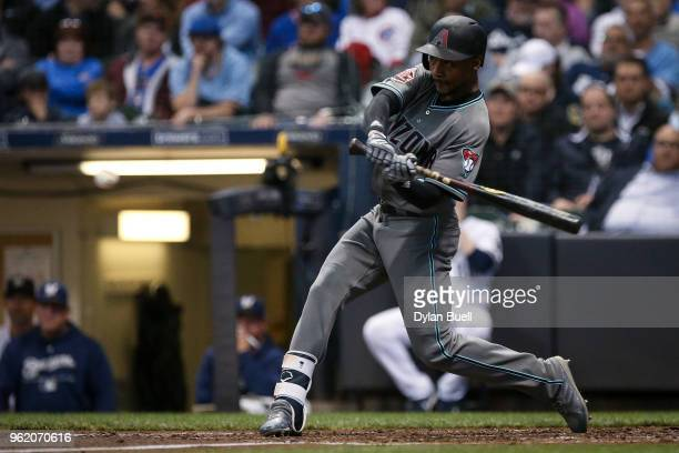 Jarrod Dyson of the Arizona Diamondbacks lines out in the fifth inning against the Milwaukee Brewers at Miller Park on May 22 2018 in Milwaukee...