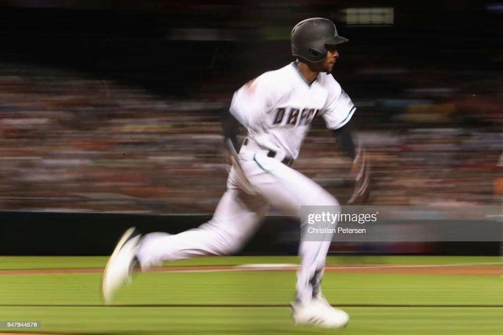 Jarrod Dyson #1 of the Arizona Diamondbacks runs to first base on a ground ball out against the San Francisco Giants during the third inning of the MLB game at Chase Field on April 17, 2018 in Phoenix, Arizona.