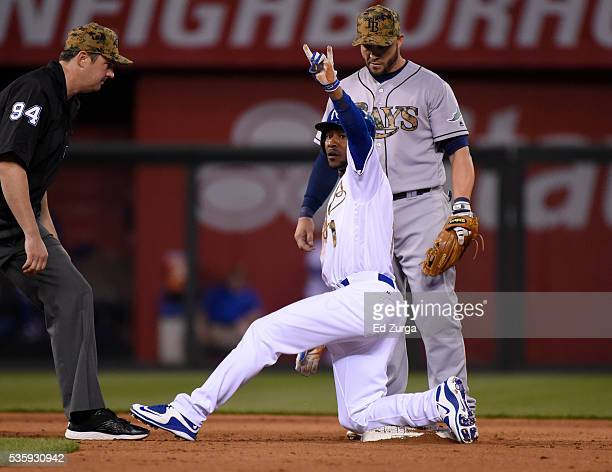 Jarrod Dyson of the Kansas City Royals celebrates after stretching a single against Steve Pearce of the Tampa Bay Rays in the fifth inning at...