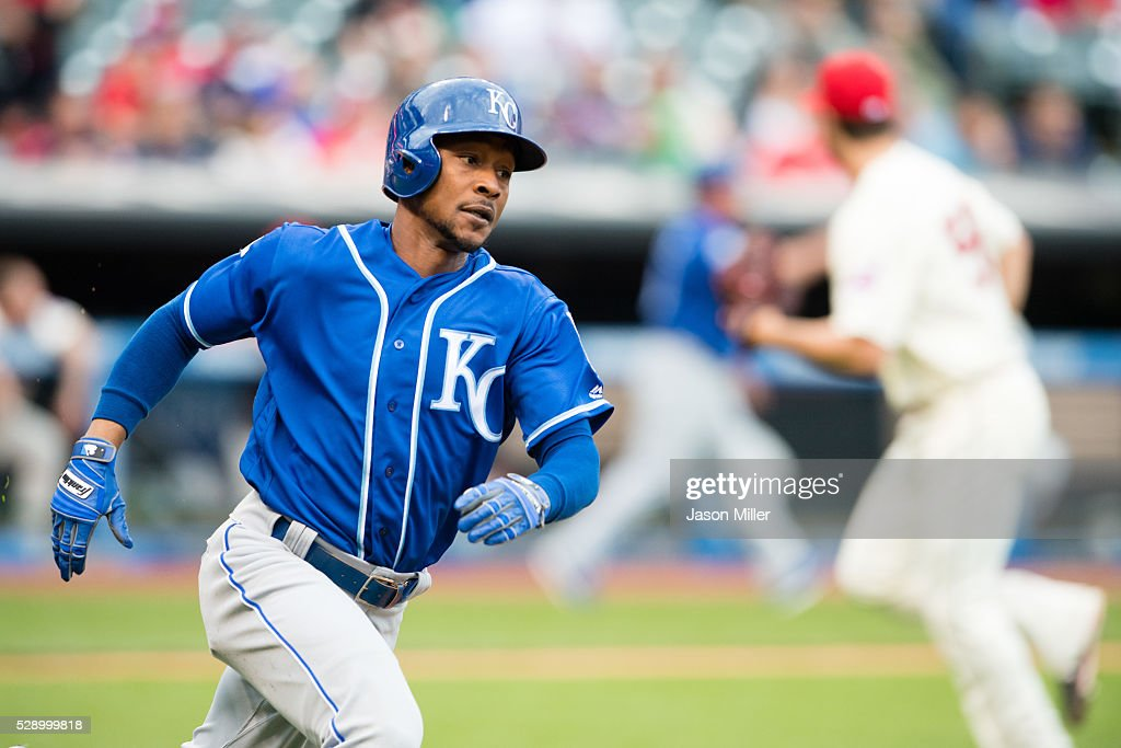 Jarrod Dyson #1 of the Kansas City Royals runs out an RBI double to left during the fifth inning against the Cleveland Indians at Progressive Field on May 7, 2016 in Cleveland, Ohio.