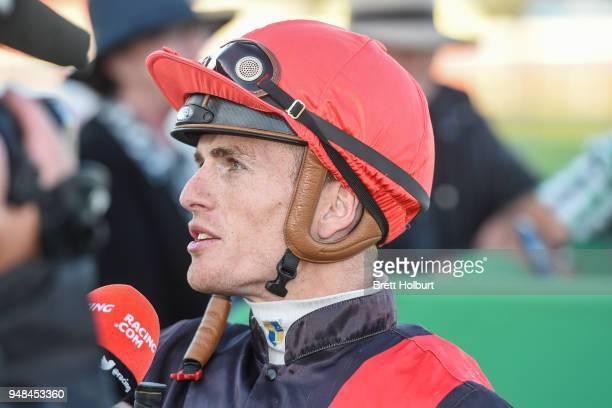 Jarrod Fry after winning the Werribee Open Range Zoo BM58 Handicap at Werribee Racecourse on April 19 2018 in Werribee Australia