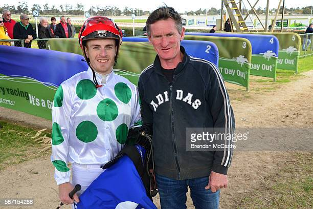 Jarrod Fry and Gwenda Johnstone after winning Vetta Spaghetti BM58 Handicap at Swan Hill Racecourse on August 08 2016 in Swan Hill Australia
