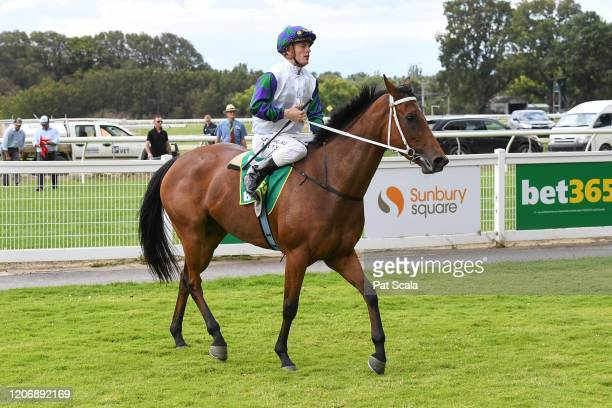 Jarrod Fry returns to the mounting yard on Mamelon after winning the bet365 Maiden Plate ,at Kyneton Racecourse on March 13, 2020 in Kyneton,...