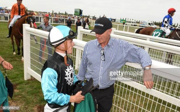 Jarrod Fry talks to Bill Wilde after winning the Sungold Milk Camperdown Cup at Camperdown Racecourse on January 20 2018 in Camperdown Australia