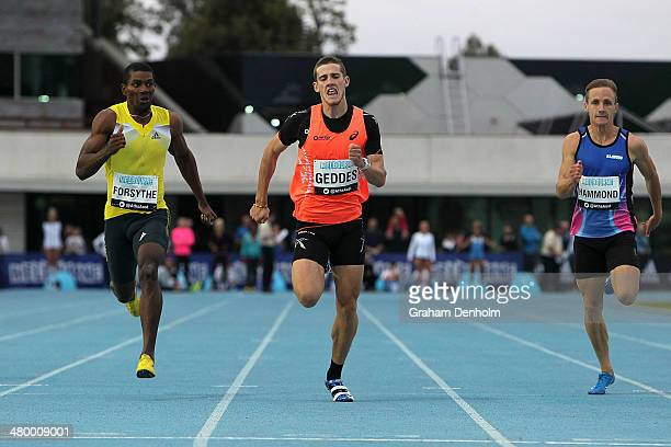 Jarrod Geddes of Australia leads the field to victory in the Men's 200 metres Open during the IAAF Melbourne World Challenge at Olympic Park on March...