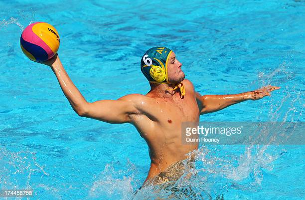 Jarrod Gilchrist of Australia in action during the Men's Water Polo first preliminary round match between Hungary and Australia on day seven of the...