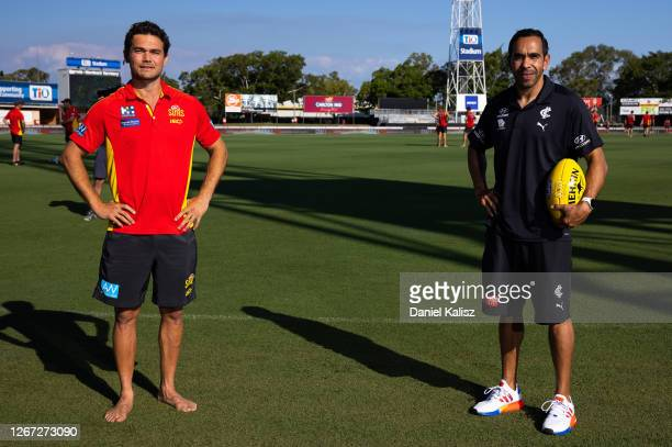 Jarrod Harbrow of the Suns and Eddie Betts of the Blues pose during an AFL media opportunity at TIO Stadium on August 20, 2020 in Darwin, Australia.