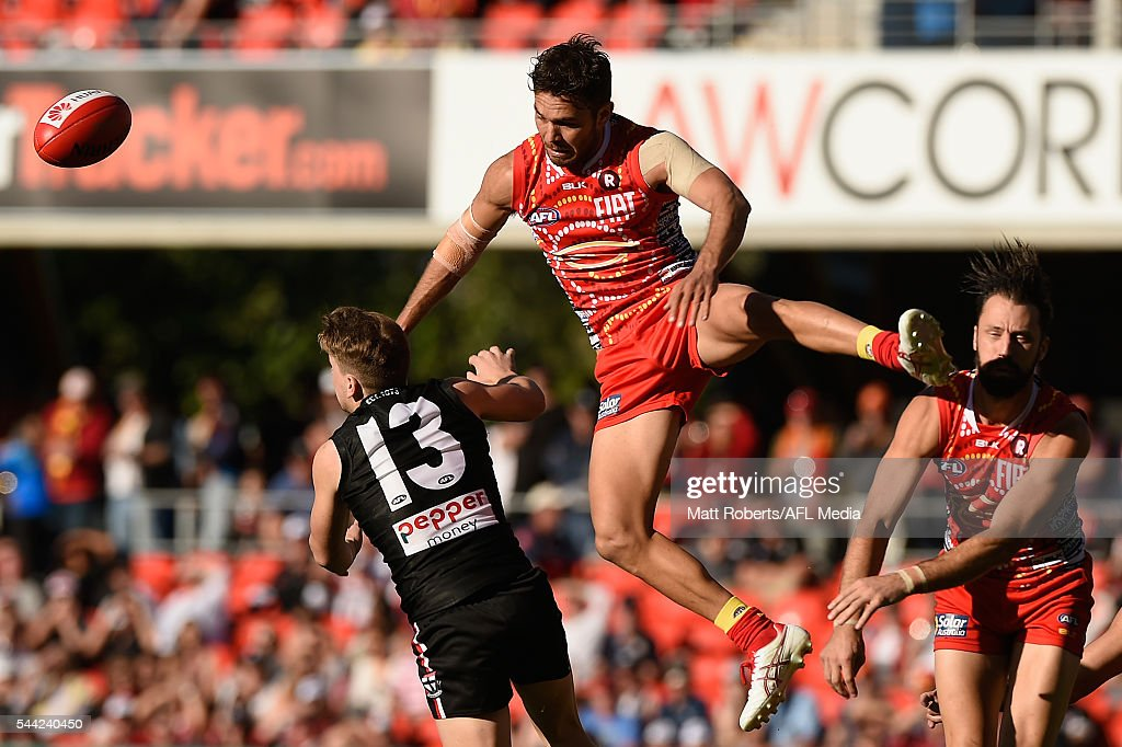 Jarrod Harbrow of the Suns competes for the ball during the round 15 AFL match between the Gold Coast Suns and the St Kilda Saints at Metricon Stadium on July 2, 2016 in Gold Coast, Australia.