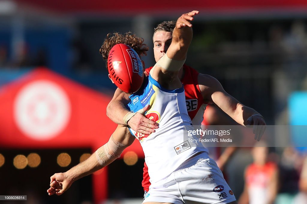 Jarrod Harbrow of the Suns contests the ball with Tom Papley of the Swans during the round 18 AFL match between the Sydney Swans and the Gold Coast Suns at Sydney Cricket Ground on July 21, 2018 in Sydney, Australia.