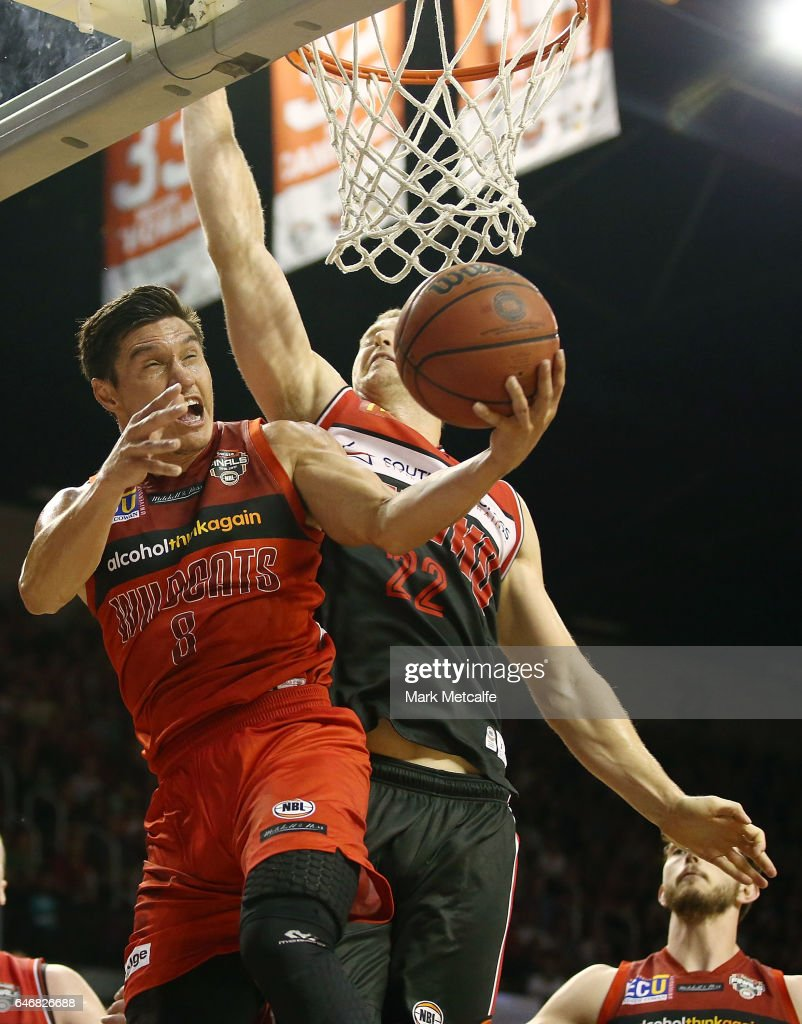 Jarrod Kenny of the Wildcats drives to the basket during game two of the NBL Grand Final series between the Perth Wildcats and the Illawarra Hawks at WIN Entertainment Centre on March 1, 2017 in Wollongong, Australia.