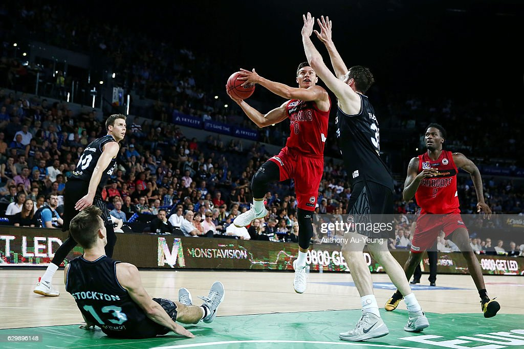 Jarrod Kenny of the Wildcats goes up against Alex Pledger of the Breakers during the round 11 NBL match between New Zealand Breakers and Perth Wildcats at Vector Arena on December 15, 2016 in Auckland, New Zealand.