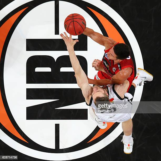 Jarrod Kenny of the Wildcats puts a shot up against David Barlow of United during the round 10 NBL match between the Perth Wildcats and Melbourne...