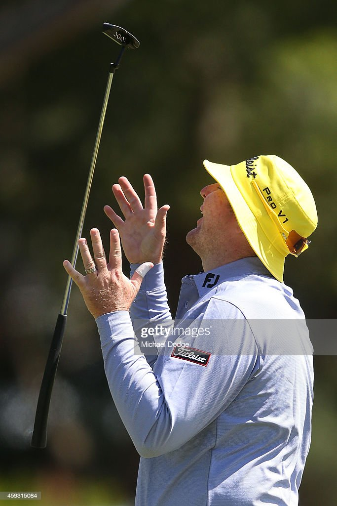 Jarrod Lyle of Austraia reacts after missing a putt on the 3rd hole during day two of the Australian Masters at The Metropolitan Golf Course on November 21, 2014 in Melbourne, Australia.
