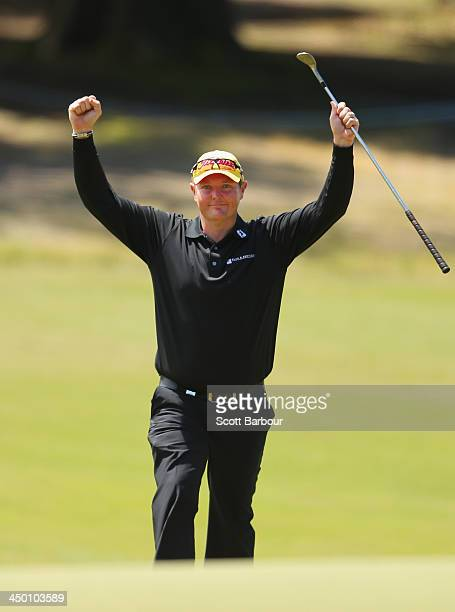 Jarrod Lyle of Australia celebrates as he makes the green on the 4th hole during round four of the 2013 Australian Masters at Royal Melbourne Golf...