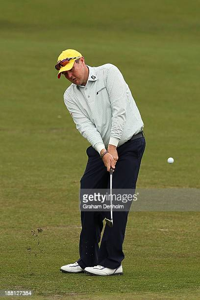 Jarrod Lyle of Australia chips to the green during round three of the 2013 Australian Masters at Royal Melbourne Golf Course on November 16 2013 in...