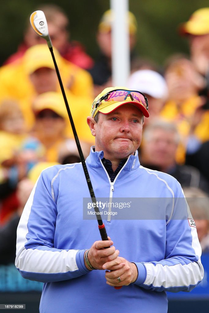 Jarrod Lyle of Australia cries on the first tee before his shot during round one of the 2013 Australian Masters at Royal Melbourne Golf Course on November 14, 2013 in Melbourne, Australia.