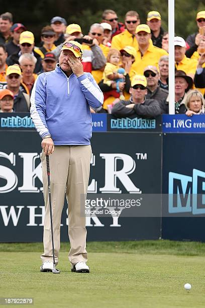 Jarrod Lyle of Australia cries on the first tee before his shot during round one of the 2013 Australian Masters at Royal Melbourne Golf Course on...