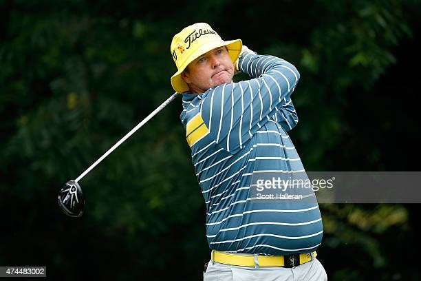 Jarrod Lyle of Australia hits a shot on the 6th tee during the third round of the Crowne Plaza Invitational at the Colonial Country Club on May 23...